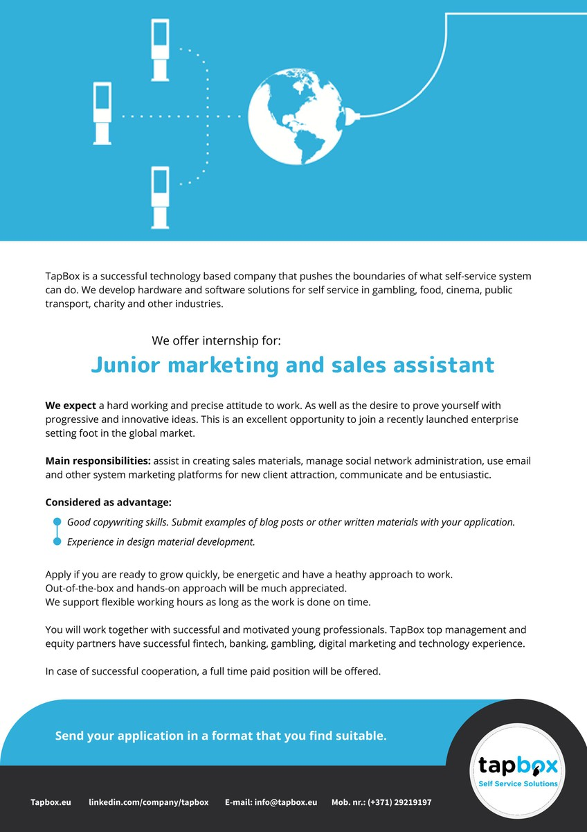 Junior marketing and sales assistant