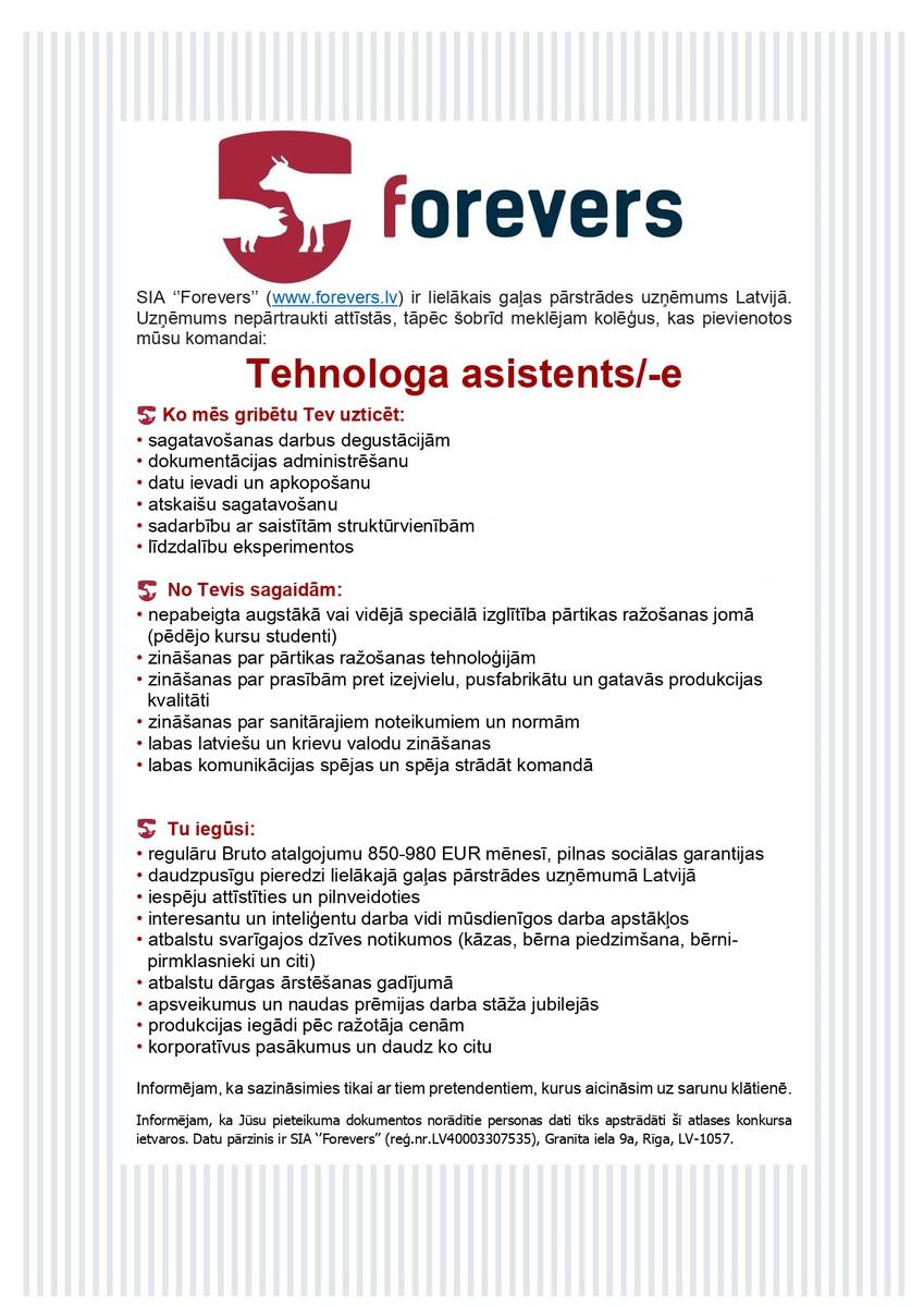 Tehnologa asistents/-e