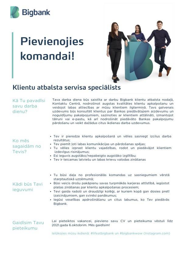 KLIENTU ATBALSTA SERVISA SPECIĀLISTS/-E